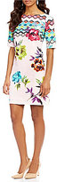 Adrianna Papell Floral Border Printed Shift Dress
