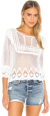 Autumn Cashmere Pointelle Crochet Bib Front Crew Sweater