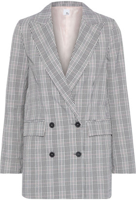 Iris & Ink Ash Double-breasted Checked Woven Blazer