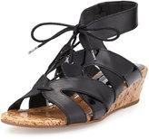 Donald J Pliner Dalie Lace-Up Leather Demi-Wedge Sandal, Black