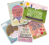 Milestone Baby Cards Gift Set -first Smile, First Steps, First Words & 25 Other Magical Baby Moments by Zoe b Organic