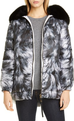 Mr & Mrs Italy Reversible Fur Print Down Puffer Coat with Removable Genuine Fox Fur Trim