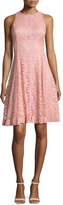 Erin Fetherston Sleeveless Lace Fit-and-Flare Cocktail Dress, Salmon