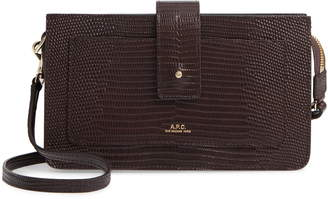 A.P.C. Albane Reptile Embossed Leather Crossbody Wallet