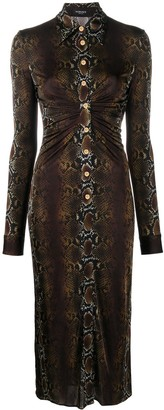 Versace Snakeskin Print Shirt Dress