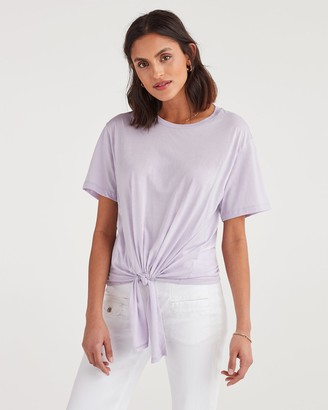 7 For All Mankind Tunnel Front Tee in Lilac Mist