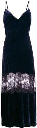 Stella McCartney Lace Insert Velvet Cami Dress