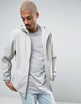 Rains Base Short Hooded Jacket Waterproof Concealed Zips In Light Grey
