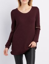 Charlotte Russe Shaker Stitch Zipper-Trim Sweater Dress