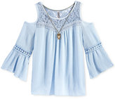 Beautees 2-Pc. Cold Shoulder Lace Top & Necklace, Big Girls (7-16)