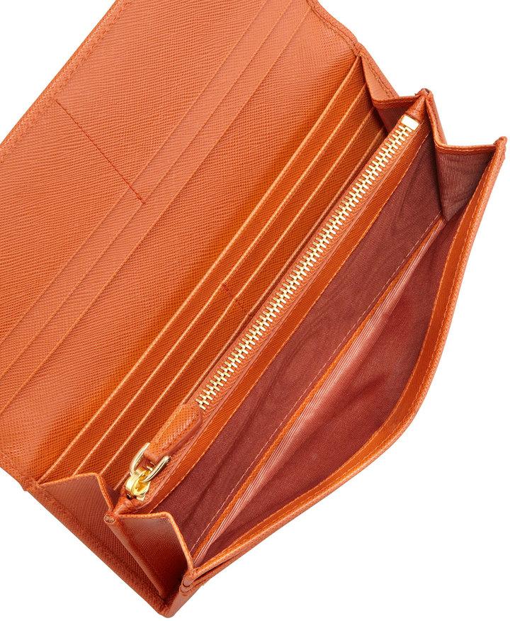 Prada Saffiano Triangle Continental Flap Wallet, Orange (Papaya)