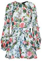 Nicholas Ruffled Floral-Print Silk-Georgette Playsuit