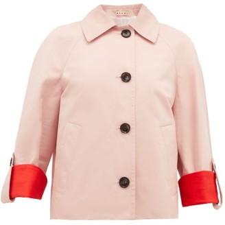 Marni Contrast-cuff Cotton-blend Jacket - Womens - Pink