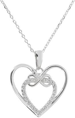 Diamonique 0.20 cttw Double Heart Pendant w/ Chain, Sterling
