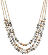 lonna & lilly Gold-Tone Multi-Bead Three-Layer Statement Necklace