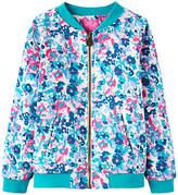 Joules Little Joule Girls' Jessie Floral Bomber Jacket, Blue