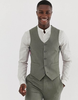 Asos Design DESIGN skinny suit waistcoat in khaki cross hatch-Green