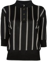 Lanvin cropped striped polo shirt - women - Viscose/Mother of Pearl/zamac - M