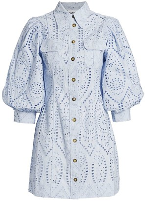Ganni Broderie Anglaise Eyelet Shirt Dress