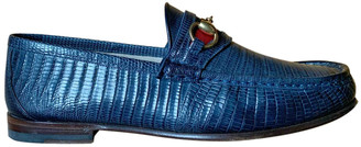 Gucci Blue Lizard Flats