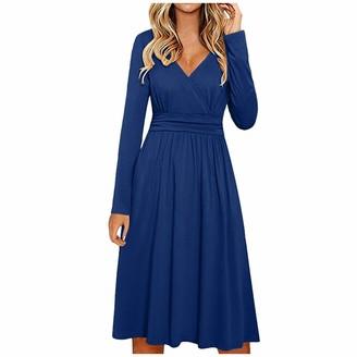 Rikay Women Tops Rikay Womens Ruched Front Long Sleeve V Neck Casual Swing Dress Midi Dress Party Dress Vintage Dress Plus Size 8-16 UK Black