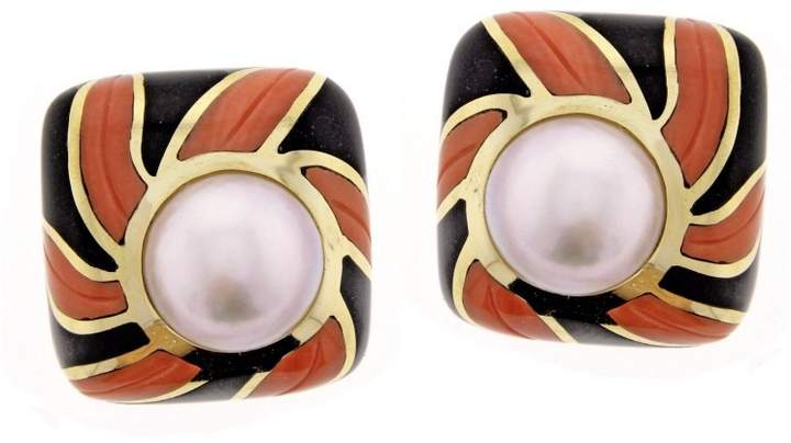 Tiffany & Co. Coral Onyx Pearl Gold Earrings