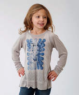 Roper Gray & Blue Horse Long-Sleeve Tee - Girls