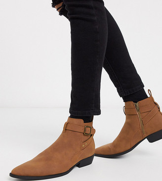 Asos DESIGN Wide Fit stacked heel chelsea boots in tan faux suede with buckle detail