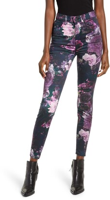Seven London 7 For All Mankind(R) High Waist Floral Ankle Skinny Jeans