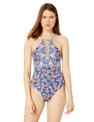 Hobie Junior's High Neck Strappy Front One Piece Swimsuit