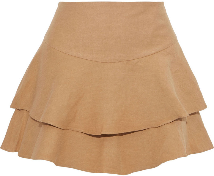 Alice + Olivia Paloma Layered Linen-blend Shorts
