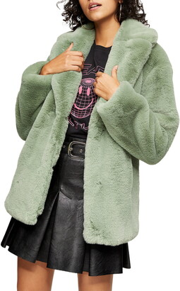 Topshop Two-Tone Faux Fur Coat