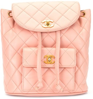 Chanel Pre Owned Diamond Quilt Drawstring Backpack