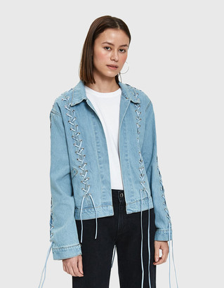 Stelen Women's Shai Lace Up Denim Jacket, Size Medium | 100% Cotton