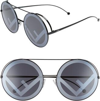 Fendi Run Away 63mm Round Sunglasses