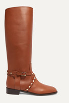Valentino Garavani Rockstud Leather Knee Boots - Tan