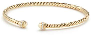 David Yurman 18k Gold Petite CableSpira® Bracelet w/ Diamonds, Size M