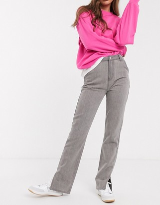 In The Style x Fashion Influx straight leg jean with split hem detail in grey