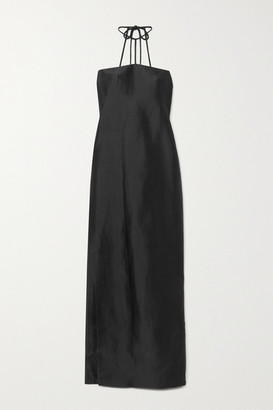 REJINA PYO Lou Open-back Ramie-blend Satin-twill Halterneck Maxi Dress - Black