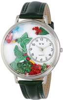 Whimsical Watches Hummingbirds Pink Leather and Silvertone Unisex Quartz Watch with White Dial Analogue Display and Multicolour Leather Strap U-1210003