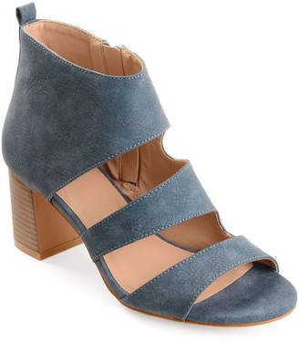 Journee Collection Womens Juniper Zip Open Toe Stacked Heel Pumps