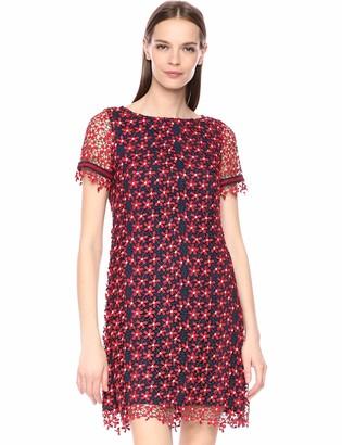 Tahari ASL Women's Short Sleeve LACE Shift Dress Daisy Navy Red 6