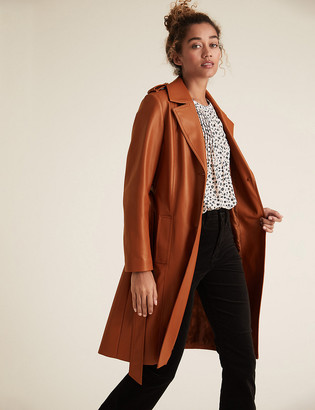 Marks and Spencer Faux Leather Belted Trench Coat