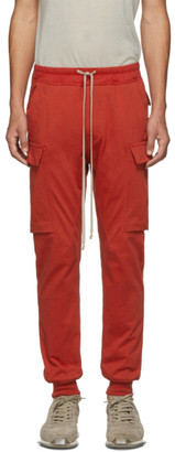 Rick Owens Red Cargo Jogger Pants