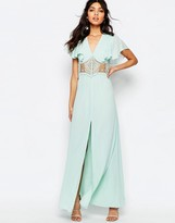 Jarlo Edith Button Front Lace Insert Flutter Sleeve Maxi Dress