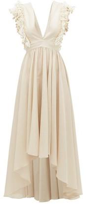 My Beachy Side - Firel Ruffled V-neck Cotton Dress - Womens - Tan