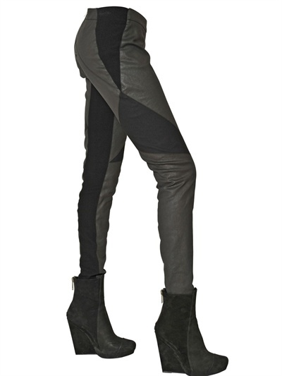 Gareth Pugh Waxed Cotton And Lycra Trousers