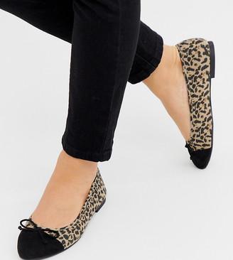 ASOS DESIGN Wide Fit Larva toe cap ballet flats in leopard print