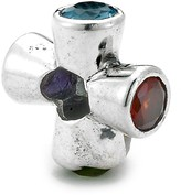 Samuel B Jewelry Sterling Silver Multi-Gemstone X Charm