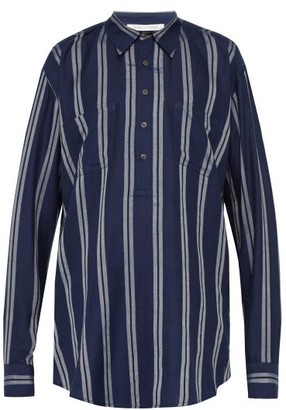 Denis Colomb Striped Silk Tunic Shirt - Navy Multi